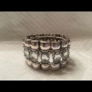 Silver Cuff bracelet with rhinestones